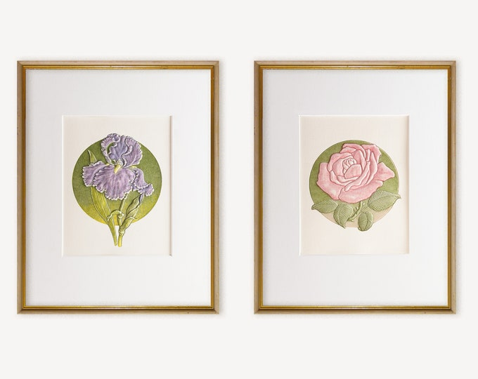 2 Floral Prints Wall Decor.Floral Wall Art.8x10 Print.Set of prints with mats. Rose and Iris prints.Ready to frame.