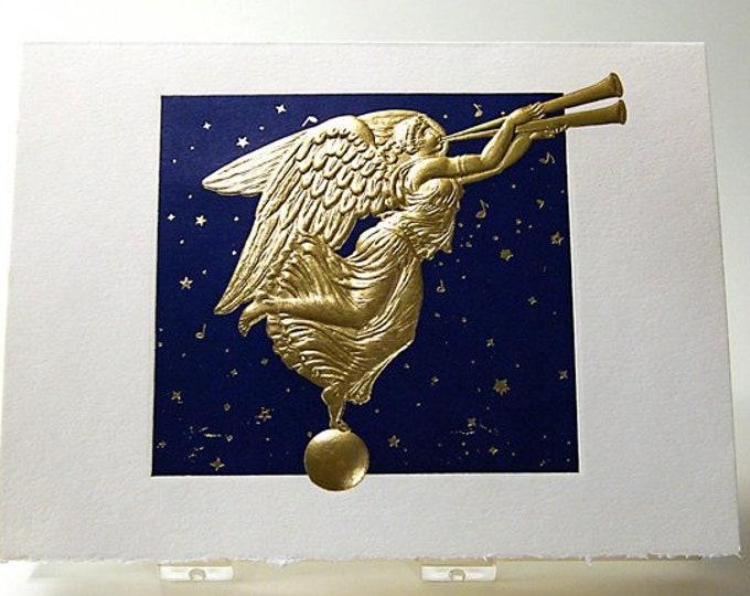 Christmas Angel Card. Letterpress Christmas card.Set of 6 cards or Single card. Blank inside.