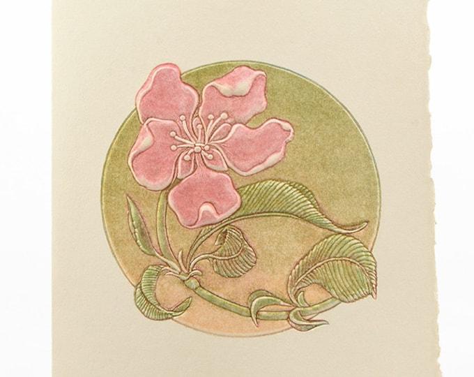 Peach Flower Letterpress Card. Embossed Flower.Pack of 6 cards or Single card Blank inside.