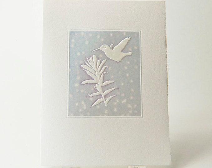 Hummingbird Holiday Card. Christmas Card. Winter card. Seasonal card. Set of 6 cards or Single card. Blank inside.