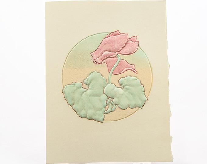 Letterpress Flower Card. Cyclamen Flower. Embossed Flower Card. Blush & Mint. Blank inside.
