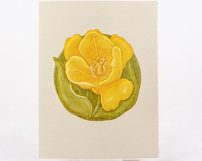 Letterpress Flower Card. Tulip Card. Embossed Flowers Card. Yellow Flower. Blank inside.
