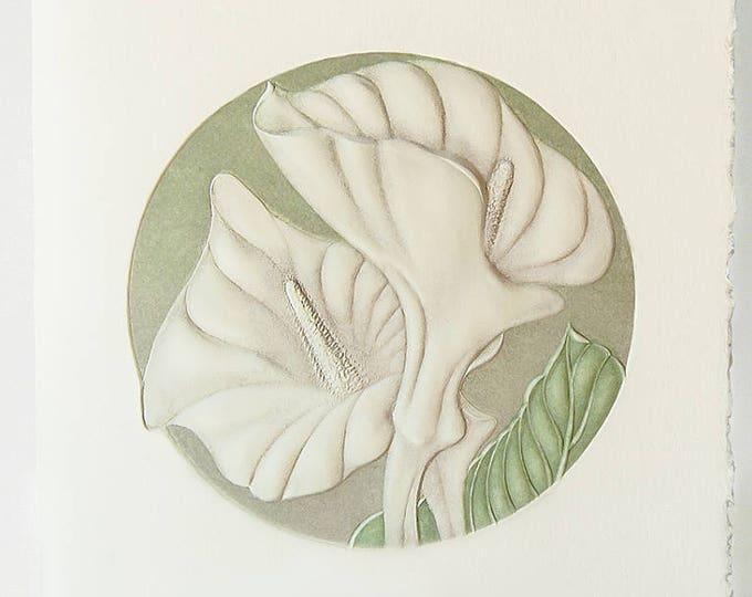 Calla Lily Card Letterpress flower card Embossed flower note card. Autumn Lily Card. Single card Blank inside.