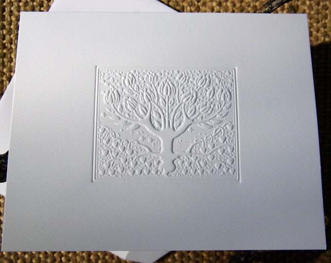 8 Love Tree Cards. Embossed card set. Romance card. Set of 8 cards Blank Inside