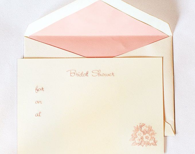 8 Pink Bridal Shower Invitations Fill in the blank. Wedding Shower Card. Set of cards