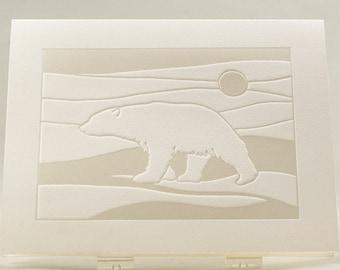 Polar Bear Card. Modern Christmas card. White Holiday card.Set of 6 cards or Single card. Blank inside.