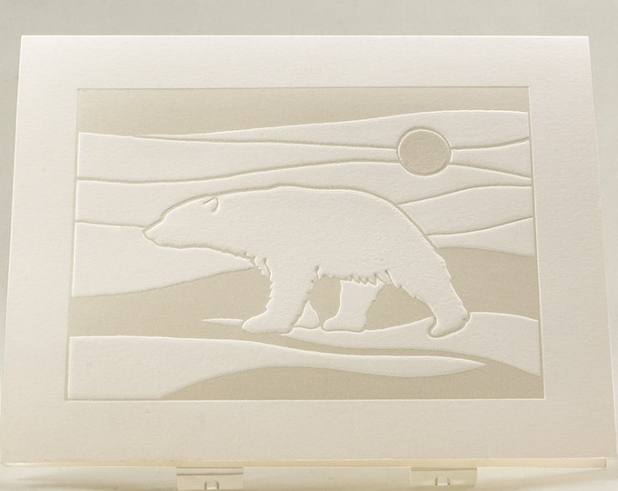 Polar Bear Card. Modern Christmas card Letterpress. White Holiday card. Single card. Blank inside.