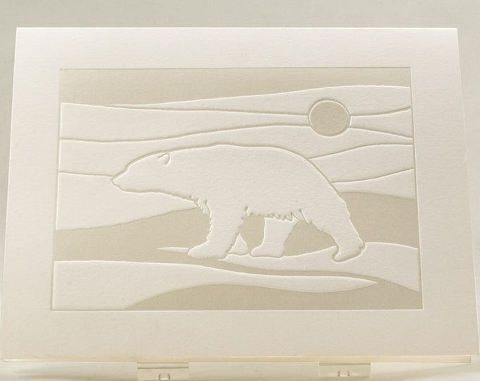 Polar Bear Card. Modern Christmas card. White Holiday card.Set of 6 cards or Single card. Blank inside.