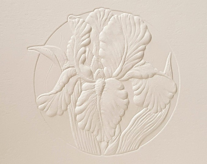 8 Embossed Iris Cards Flower Letterpress Set Floral card Birthday. Blank inside.