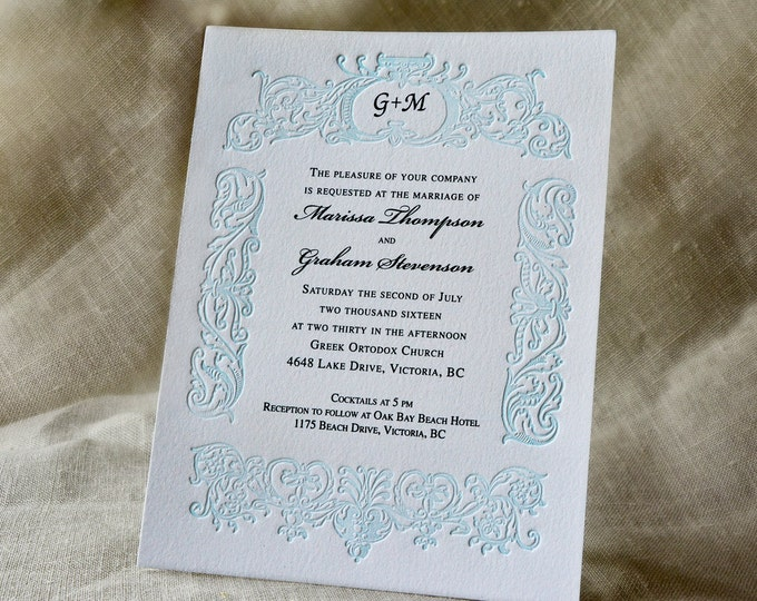 Blue Wedding Invitation Suite Monogrammed Letterpress Wedding Card Vintage Wedding Invite. RETRO BELIEVE SUITE. Blue Border Invite. Sample.