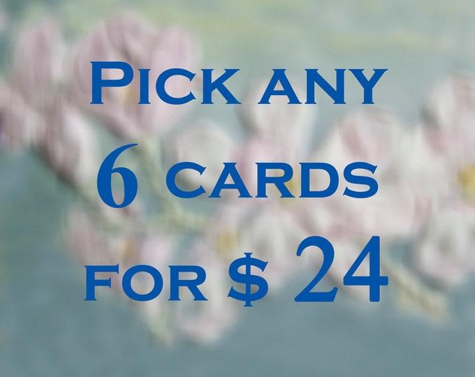 6 Cards Value Pack. Embossed Card Set. Assorted cards. Letterpress Gift Set. Sale.