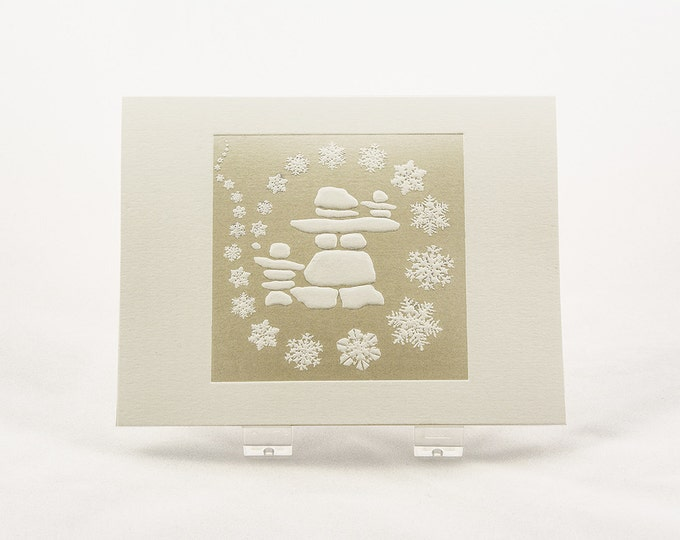 Snowflakes Holiday Card. Family Christmas card. Set of 6 cards or Single card. Blank inside.