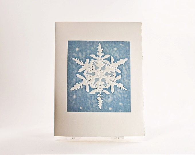 Snowflake Christmas Card Letterpress Holiday Card Embossed. Blue. Laurentian Snowflake Card. Single card. Season's Greetings inside.