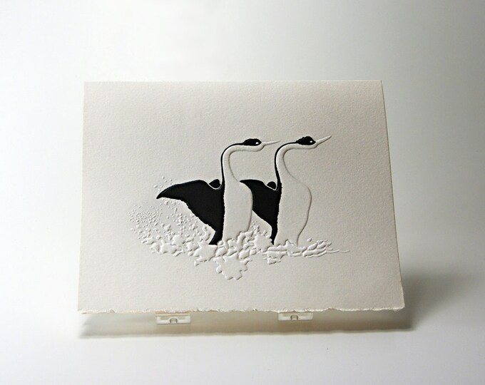 Swans Love Dance Card. Valentine. Embossed. Letterpress. Note Card. Single Card. Blank inside.