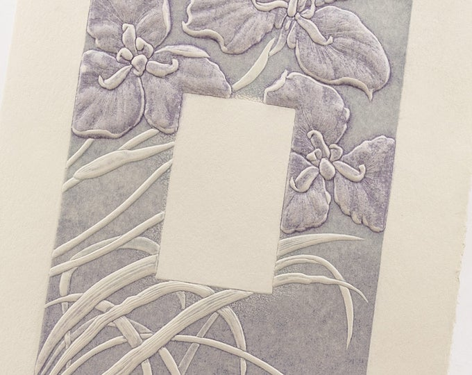 Purple Irises Card Letterpress. Embossed Flower card. Set of 6 cards or Single card.Blank inside.