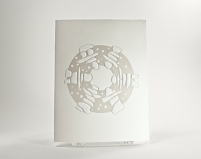 Pearl Holiday Card. Letterpress Christmas card. Season Greetings card. Inukshuk Dance card.Single card or set of 6 cards. Blank inside.