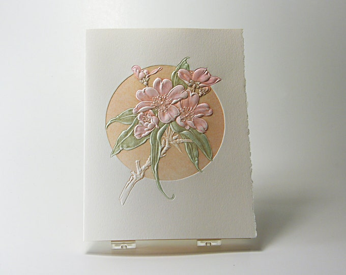 Peach Flower Card. Blossom. Birthday. Love. Mothers Day. Embossed. Letterpress. Single card. Blank inside.