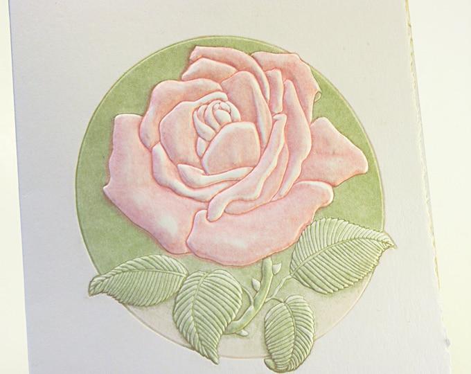 Pink Rose Card.Letterpress flower card.Rose note card.Flower art card.Single card. Blank inside.
