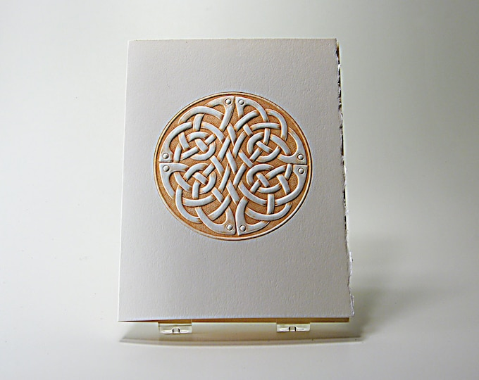 Celtic Round Knot Card. Letterpress. Embossed Love Knot Card. Single Card. Blank Inside.