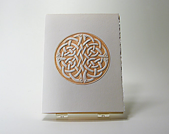 Celtic Round Knot Card.Embossed Love Knot Card. Set of 6 cards or Single Card. Blank Inside.