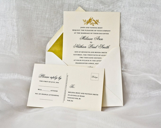 Gold Wedding Invitation Gold LOVE BIRDS Letterpress Wedding Card Gold Foil Sample.