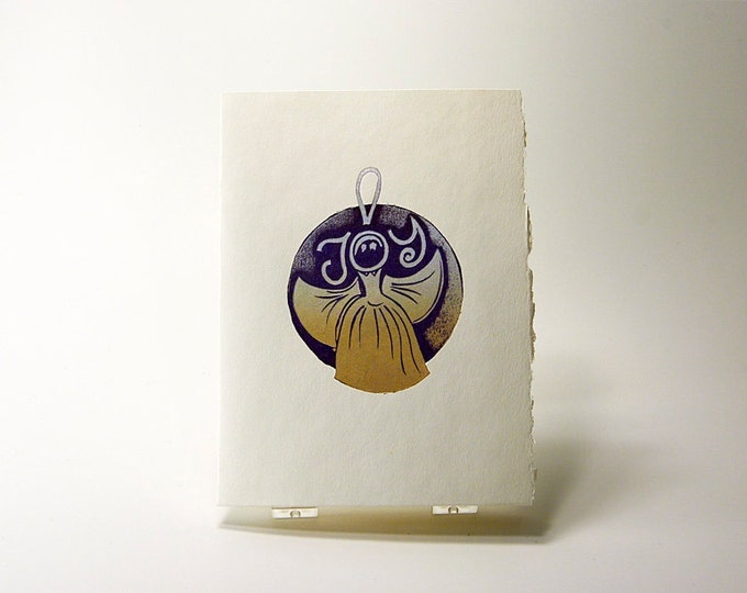 Angel of Joy Card. Christmas. Holiday Season. Letterpress. Gold. Linocut Print. Art Print. Single card. Blank inside.