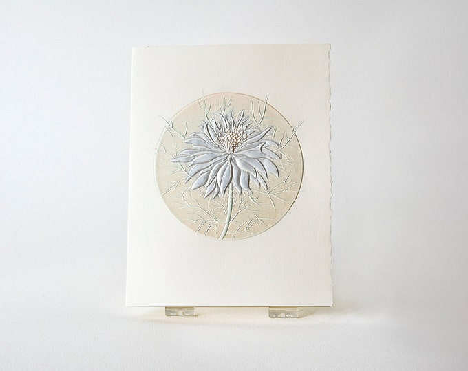 Blue Flower Card. Love In a Mist. Embossed Flower. Letterpress. Single card Blank inside.