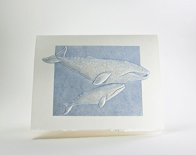 Gray Whales Note Card. Mom and Baby. Letterpress. Embossed Whale card. Single Card. Blank Inside.