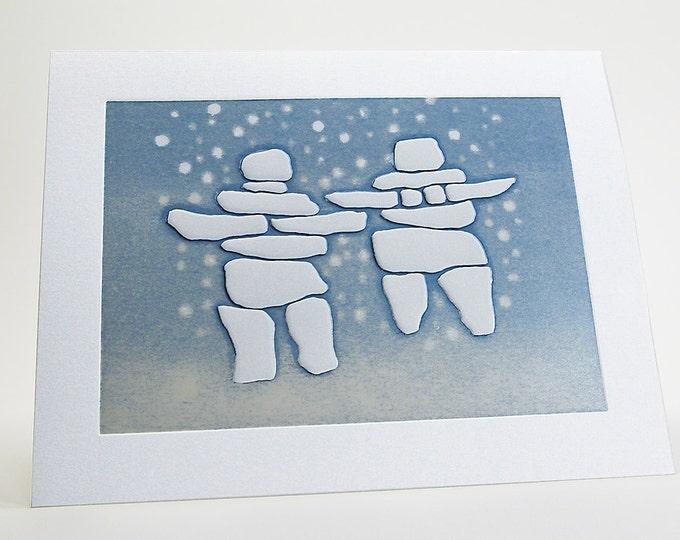 Letterpress Christmas Card. Holiday season. Inukshuk Pair card. Embossed. Notecard. Single card. Blank inside.
