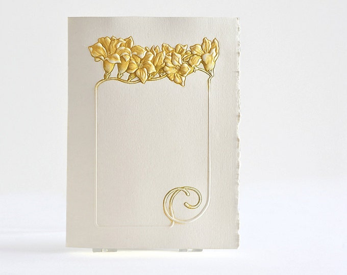 Freesia Flower Card. Yellow Flower Frame. Embossed. Letterpress card. Single card Blank inside.