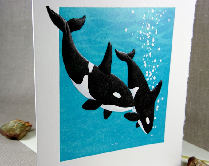 Orca Whales Love Card. Valentine. Letterpress. Embossed. Single Note Card. Blank inside.