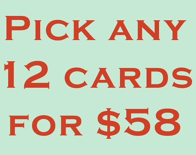 Pick 12 Cards Value Pack. Embossed Card Set Letterpress cards Sale. Assorted. Blank inside.