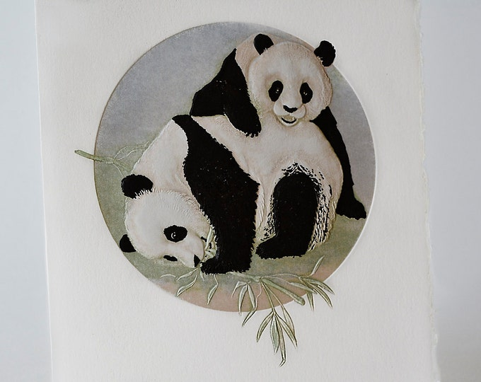 Panda Bears Card Animals Card Embossed Letterpress Anniversary Card Single Card Blank Inside