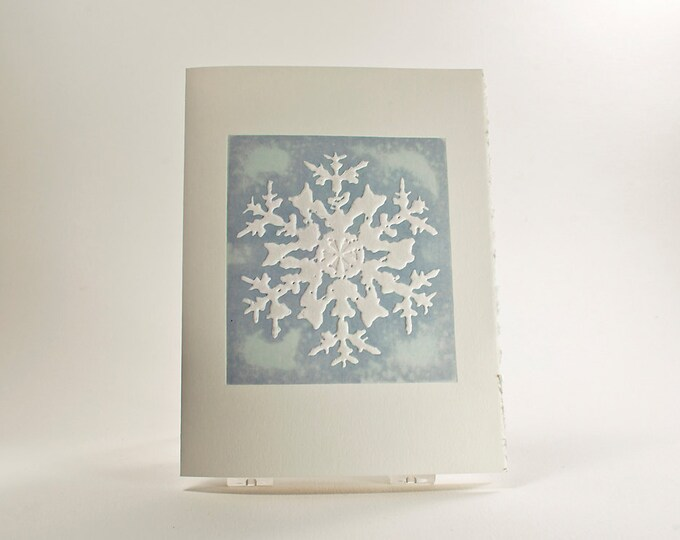 Rocky Mountain Snowflake Holiday Card. Christmas card. Embossed. Letterpress. Single card. Blank or Season's Greetings inside.