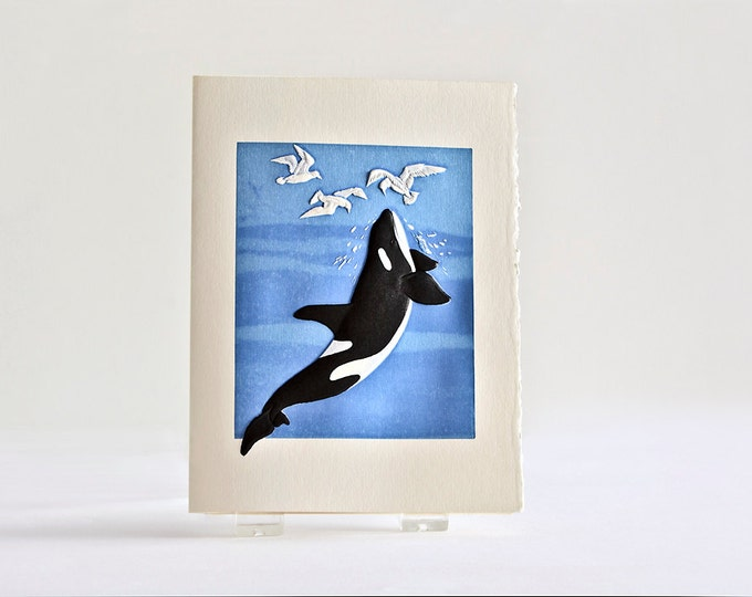 Whale Letterpress Card. Embossed Whale Note Card. Orca Whale. Ocean Wildlife. Single Card. Blank inside.
