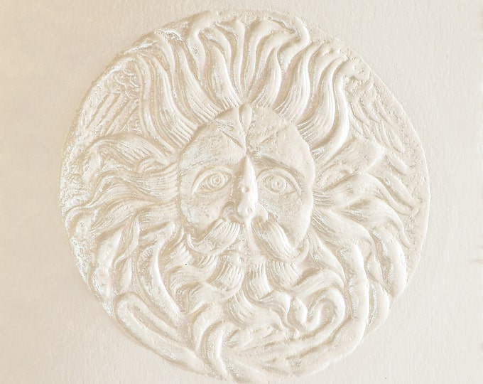 Gorgon Head card. Medusa Head card. Embossed Card. Art card. Pearl Foil. Single card. Blank inside.