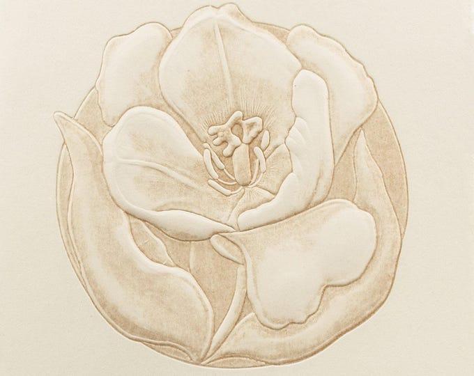 40% OFF SALE Tulip card. Letterpress Flower Card.  Embossed Flower Card. Easter card. Natural card. Blank inside.