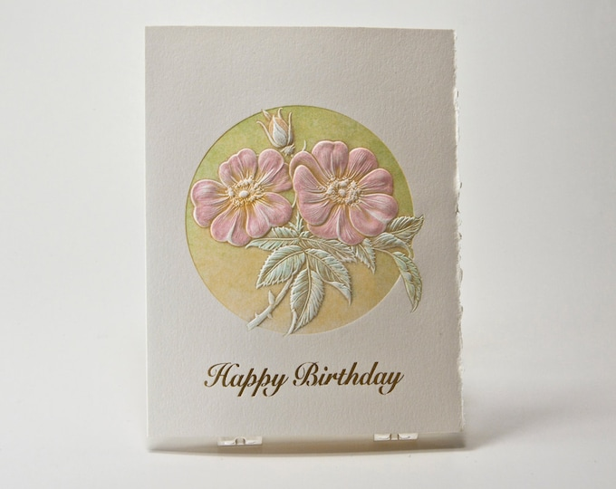 Happy Birthday Card. Letterpress Birthday card. Gold bday notecard. Wild Rose Birthday card. Single card. Blank inside.