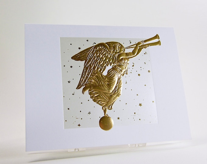 Christmas Angel Card. Letterpress. Embossed. Gold. Pearl. Single card. Blank inside.
