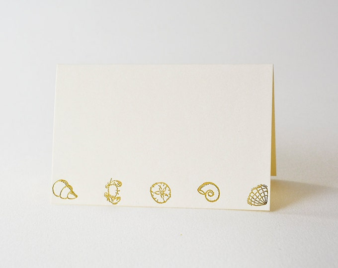 Set of 8 Beach Themed Cards. Gold Note Card. Letterpress. Nautical. Hand stamped. Blank inside.