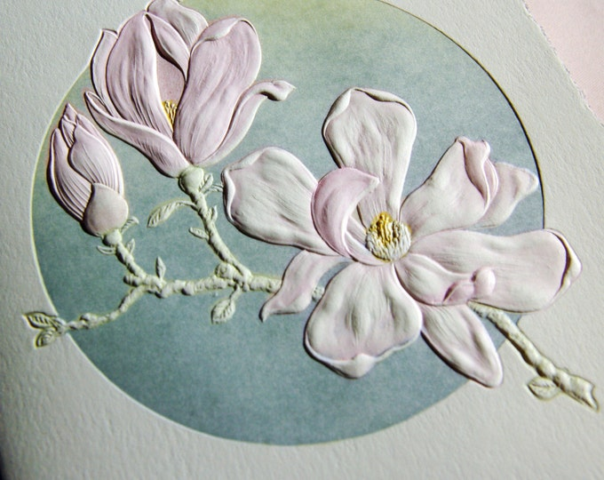 Magnolia Card. Flower Letterpress. Love. Mothers Day. Single folded card. Vintage Envelope. Embossed.
