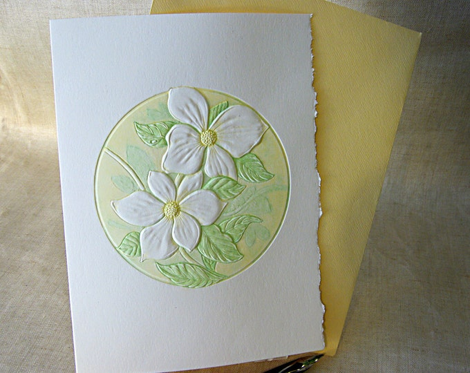 Letterpress Flower Card Easter card Embossed card Pacific Dogwood. Single Card. Blank inside.