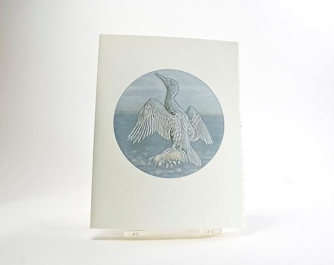 Cormorant Bird Card. Letterpress Bird Notecard. Embossed. Single card. Blank inside.