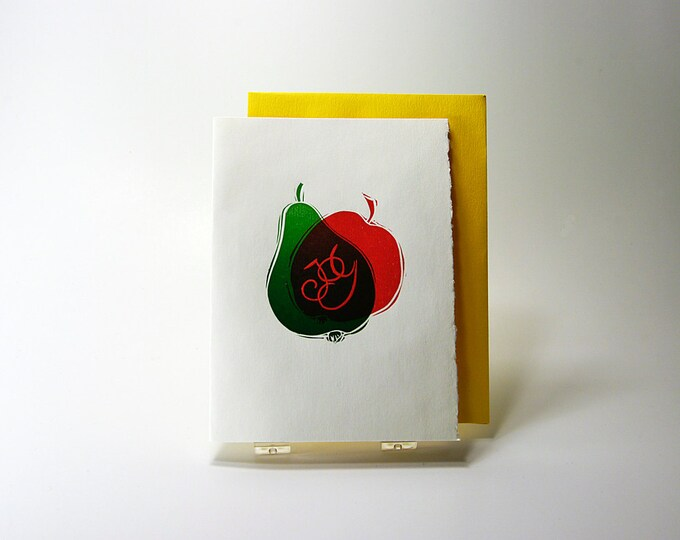 Sweet Joy Card. Christmas. Holiday Season. Letterpress Red. Green. Linocut Print. Single card. Blank inside.