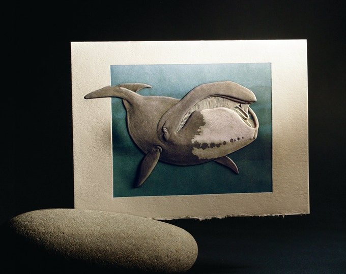 Bowhead Whale Card. Valentine. Birthday. Embossed. Letterpress. Single card. Blank inside.