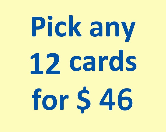 Pick 12 Cards Value Pack. Embossed Card Set Letterpress cards Sale. Assorted. Blank inside.