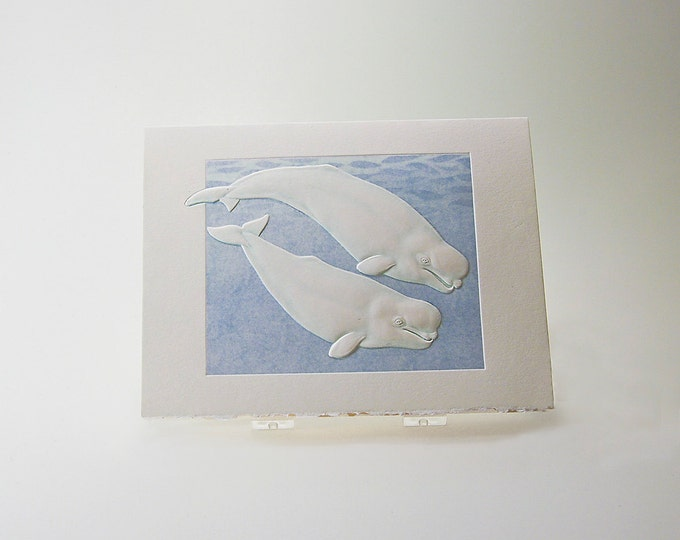 Beluga Whales Card.Couple card.Wildlife card Embossed Set of 6 cards or Single Card. Blank inside.
