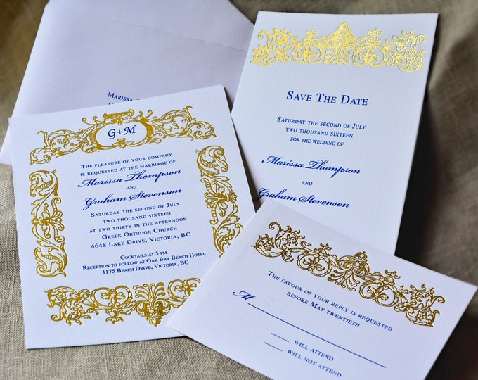 Gold Wedding Invitation Suite Monogrammed Letterpress Gold Wedding Card Vintage Wedding Invite RETRO BELIEVE Suite Sample Gold Border Invite