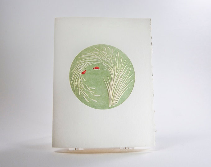 Ladybugs Card. Love. Valentine. Letterpress. Embossed. Single Note Card. Blank Inside.