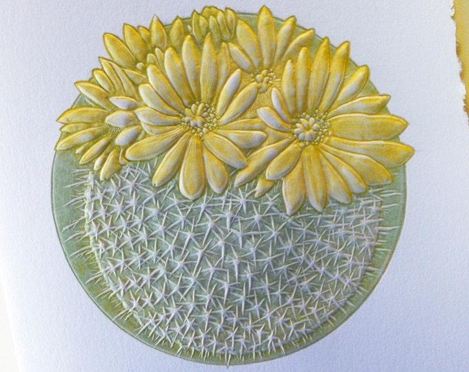 Cactus Card Letterpress. Desert flower card. Embossed 6 card set or Single card. Blank inside.